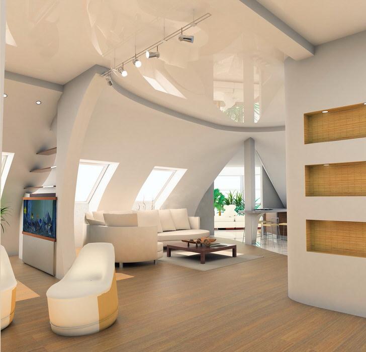 Косые потолки дизайн