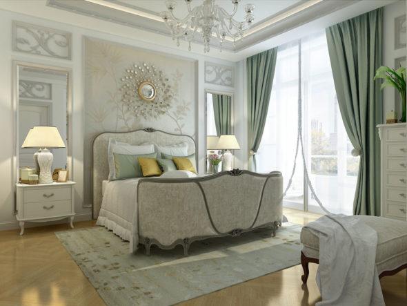 Окно до пола в спальне наполняет комнату дневным светом