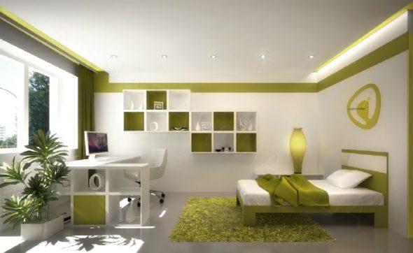 Дизайн спальни оливкого цвета