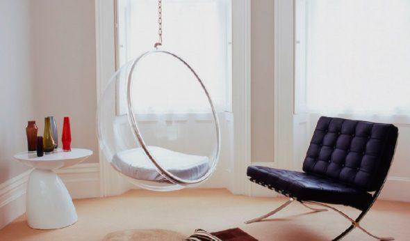 Подвесное кресло в интерьере хай-тек