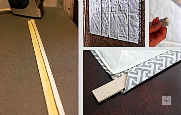 Обработка ленты и установка планок в заготовку римских штор