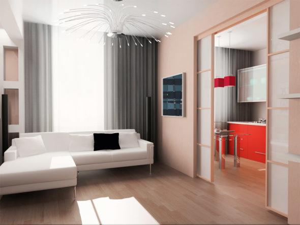 Раздвижные двери помогают объединению гостиной и кухни