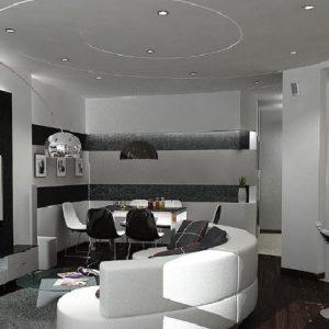 Совмещённая гостиная с кухней