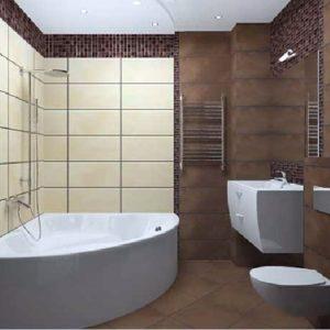 Дизайн ванной комнаты в коричнево-молочных тонах