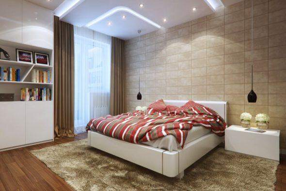 Спальня с кроватью белого цвета и пёстрым покрывалом