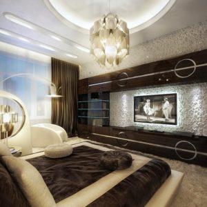 Светильники в спальне сложной и необычной конструкции