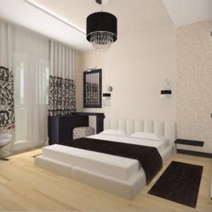 Спальня с растительным рисунком на шторах