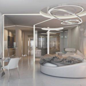 Спальня со сложным дизайном потолка
