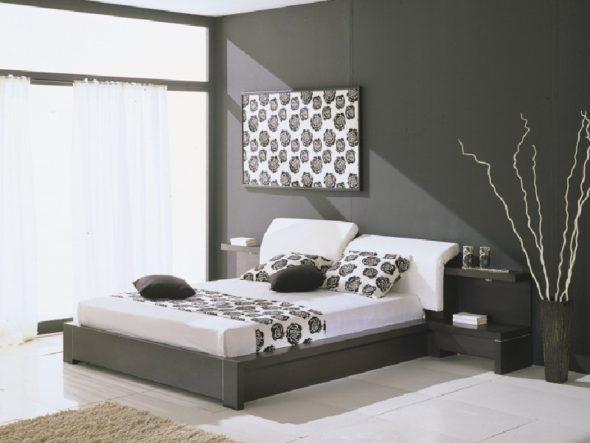 Дизайн спальни серого цвета