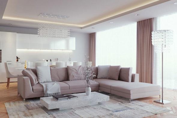 Свободная расстановка мебели в гостиной, совмещённой с обеденной зоной