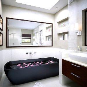 Дизайн ванной-комнаты в чёрно-белых тонах