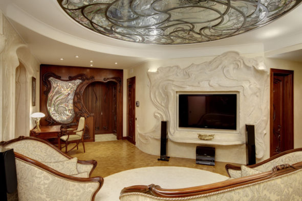 Витраж модерн гостиная