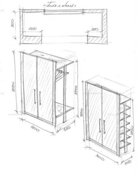 Эскиз встроенного шкафа