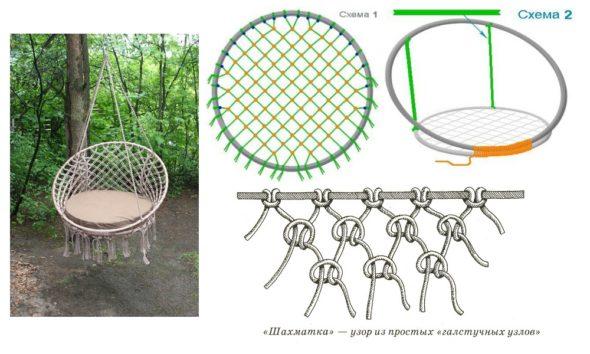 Схема плетения и сборки кресла-гнезда