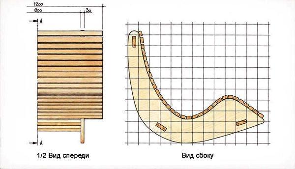 Кресло качалка своими руками схема чертеж 15