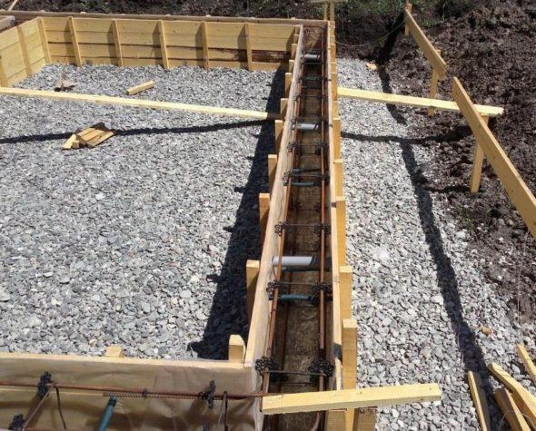 Слой песчано-гравийной засыпки для фундамента