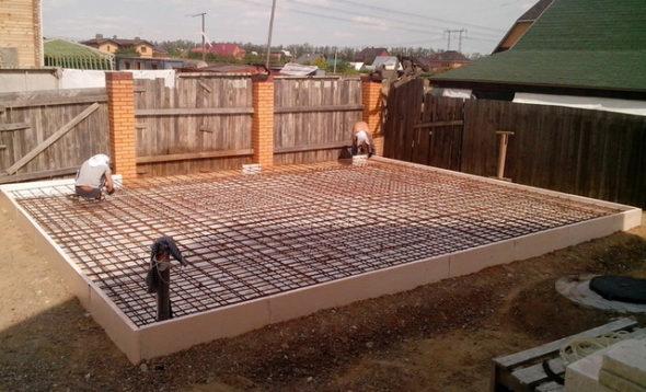 Армирование плитного фундамента