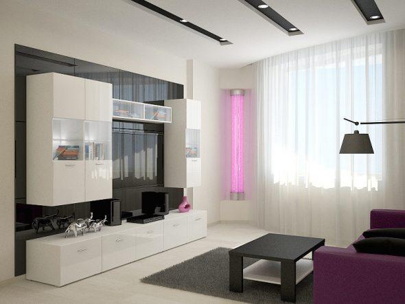 Гостиная со сложным подвесным потолком и галогенными светильниками