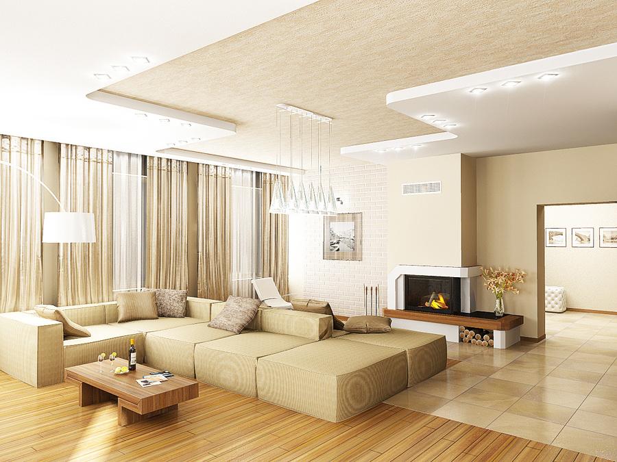 Гостиная с комбинированным потолком