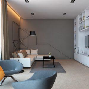 Гостиная с белым шкафом-стеллажом