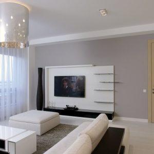 Дизайнерская люстра в интерьере гостиной
