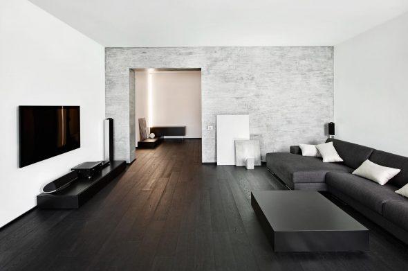 Сочетание чёрного и белого в гостиной