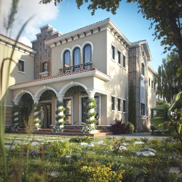 Фасад виллы в тосканском стиле
