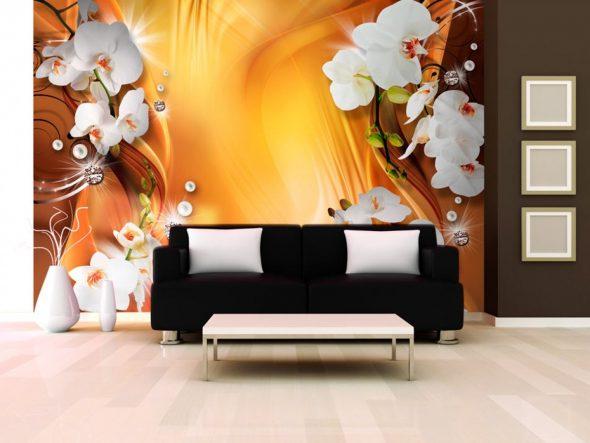 Фотообои с изображением орхидей в гостиной