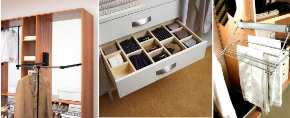 Штанки и выдвижные ящики в шкафу-купе