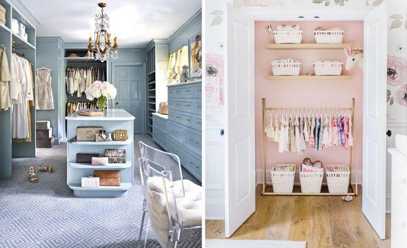 Варианты обустройства гардеробных комнат в разных цветах