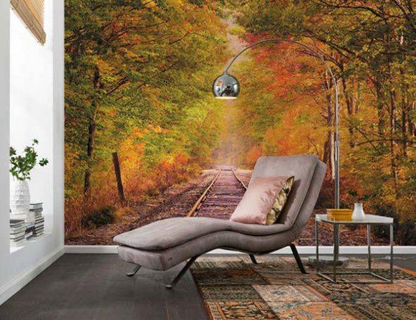 Фотообои холст с изображением осеннего леса и железной дороги в комнате отдыха