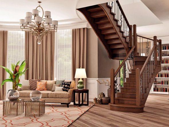 Деревянная лестница с двумя пролетами на второй этаж