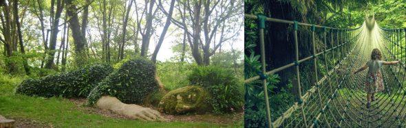 Сад с подвесным мостом