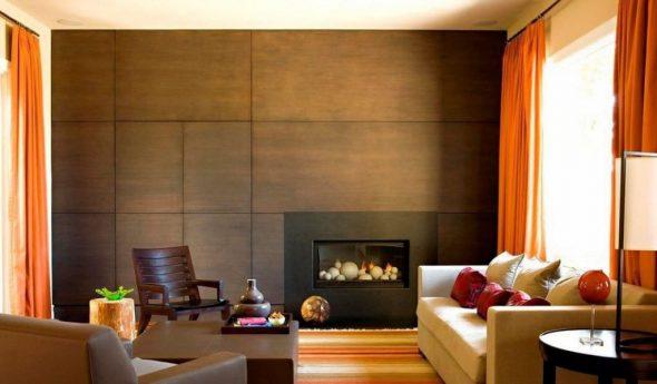 Отделка стен гостиной листовыми панелями