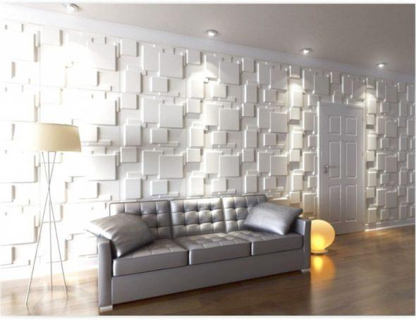 3-D панели в интерьере гостиной