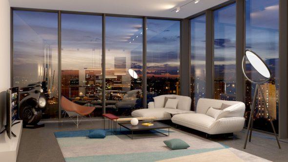 Интерьер гостиной с панорамными окнами