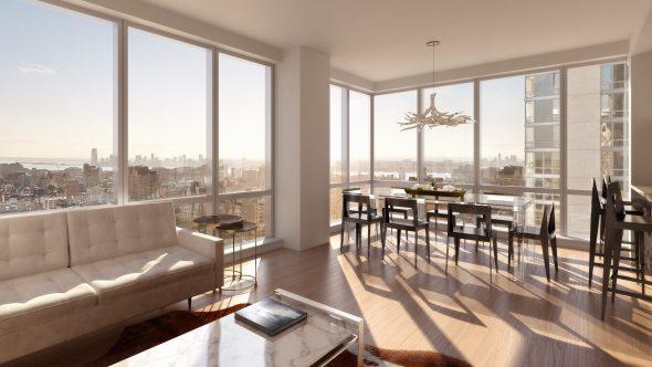 Дизайн просторной квартиры с панорамными окнами