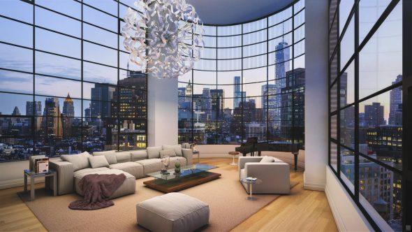 Интерьер просторной гостиной с панорамными окнами