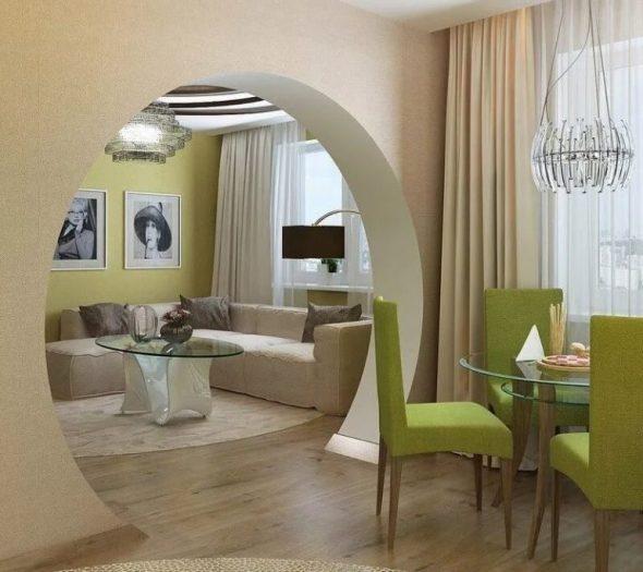 Арка круглой формы в интерьере квартиры