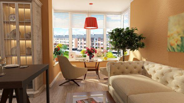 Дизайн гостиной и зоны отдыха с эркером