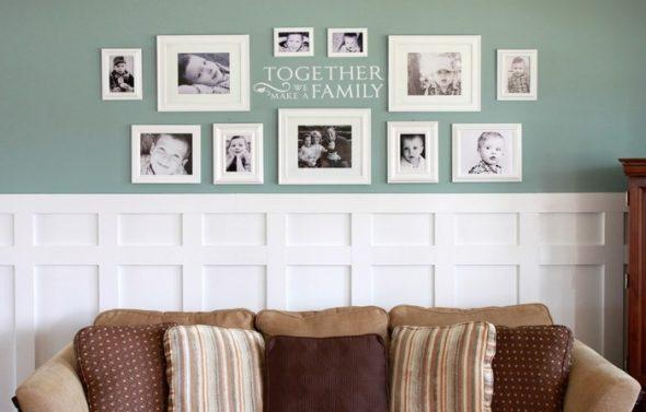 Фотогалерея на стене в гостиной