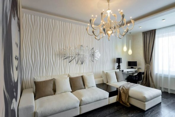 3D-панели на стене гостиной