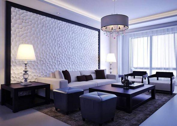 Отделка стен 3D-панелями в гостиной