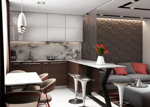 3D-панели на стене кухни