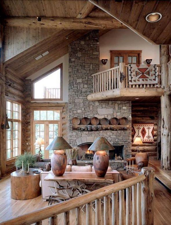 Интерьер загородного дома в стиле рустик