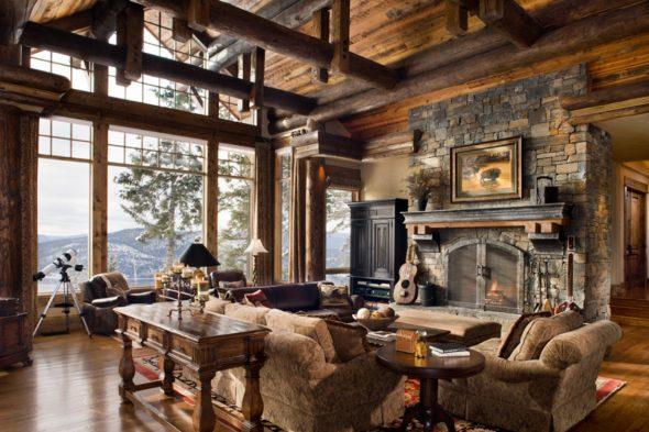 Интерьер гостиной в загородном доме в стиле рустик