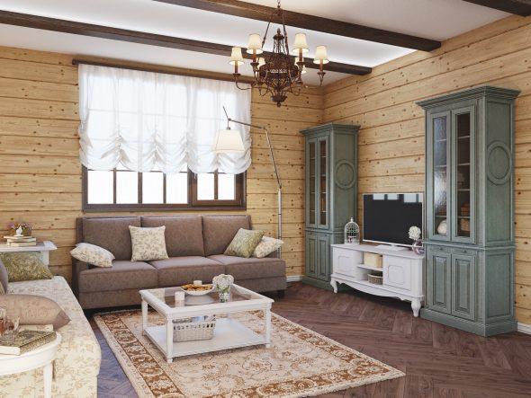 Дизайн гостиной в стиле рустик