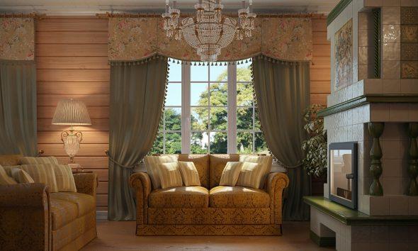 Интерьер гостиной в доме в стиле русской усадьбы