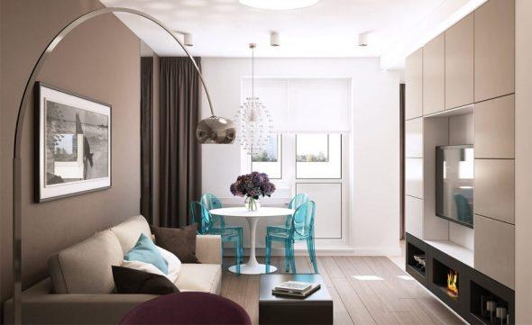 Интерьер однокомнатной квартиры 30 кв м