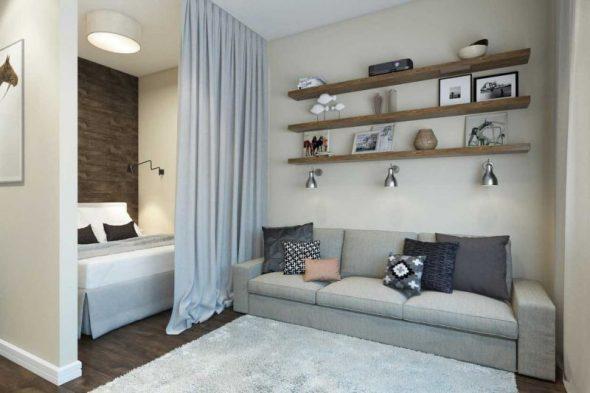 Интерьер однокомнатной квартиры 40 кв м